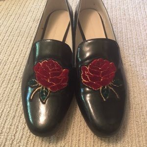 Zara floral loafers